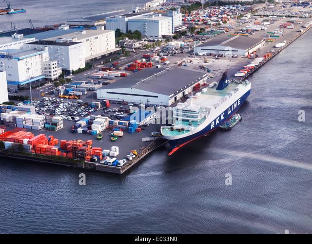 Wakanatsu Ro-Ro cargo ship RKK line docked in a port at Odaiba, Tokyo island, Japan. Aerial view. - Stock Image