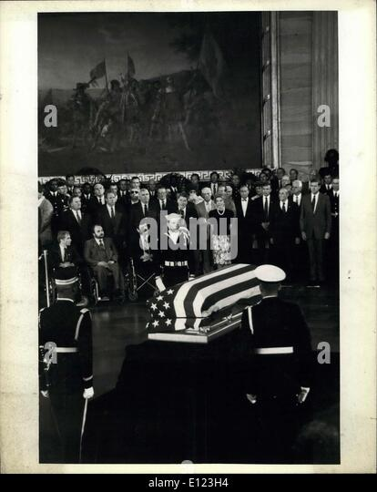 May 25, 1984 - President Reagan is shown as he delivered a brief Eulogy for the unknown soldier of the Vietnam War. - Stock Image
