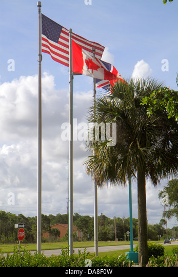 Florida Naples flags Canadian UK England - Stock Image