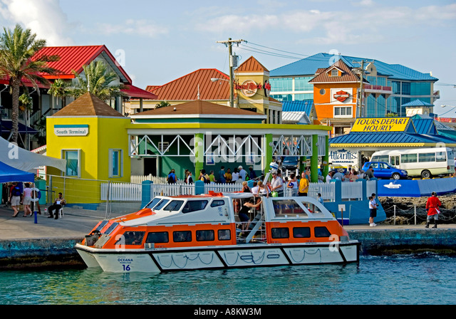 Grand Cayman George Town Harbor cruise ship tender boat - Stock Image