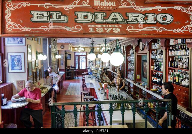 Madrid Spain Europe Spanish Centro Barrio de las Letras neighborhood Calle de Las Huertas El Diario de Huertas restaurant - Stock Image