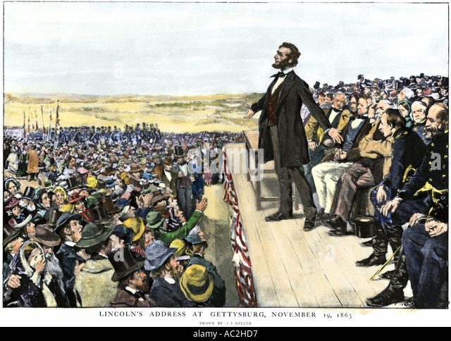 http://n7.alamy.com/zooms/072d7b8841f64f2385c891cb773e15c2/president-abraham-lincoln-delivering-the-gettysburg-address-commemorating-ac2hd7.jpg