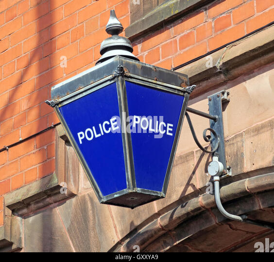 Traditional blue British Police Station lamp,Stockton Heath,Warrington,Cheshire - Stock Image