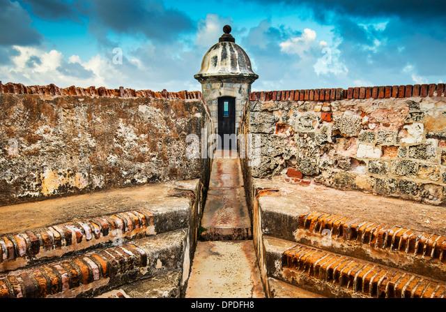 San Juan, Puerto Rico coast at Fort San Felipe Del Morro. - Stock Image