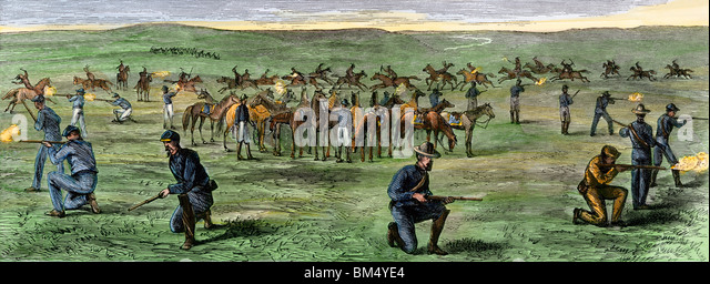 Sioux attack on a company of Custer's Seventh Cavalry on the Great Plains, June 24, 1867 - Stock Image