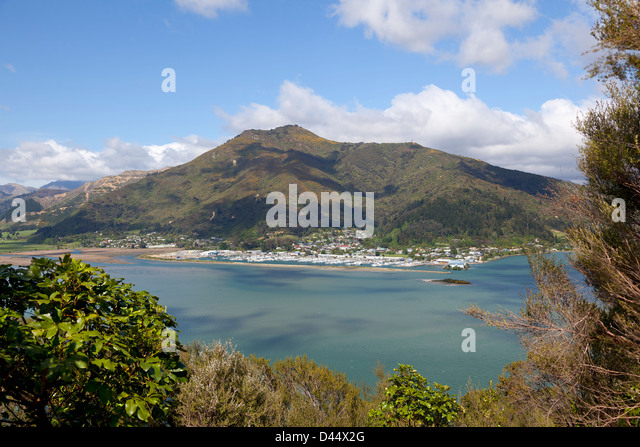 Havelock fishing port seen from Cullen Point Lookout, New Zealand, - Stock Image