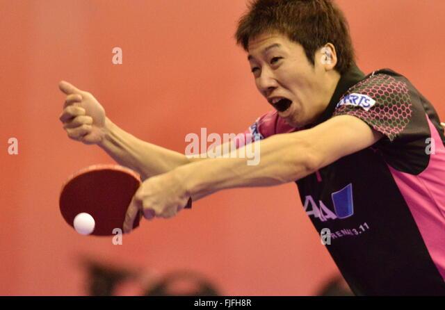 Kuala Lumpur, Malaysia. 2nd Mar, 2016. Mizutani Jun of Japan competes against Joao Monteiro of Portugal during the - Stock-Bilder