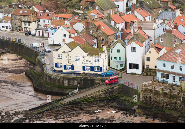 Staithes harbour, North Yorkshire Coast. - Stock Image