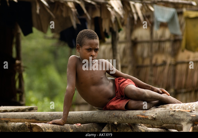Asmat boy in Irian Jaya, Indonesia. - Stock Image