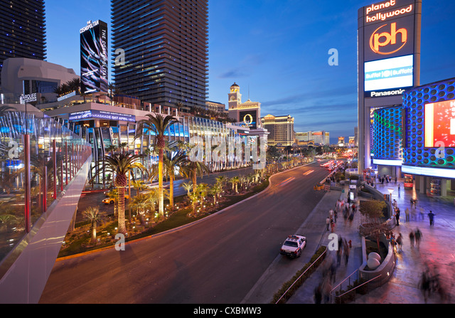 Hotels and casinos along the Strip, Las Vegas, Nevada, United States of America, North America - Stock Image