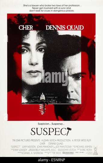 SUSPECT, US poster art, from left: Cher, Dennis Quaid, 1987. © TriStar/courtesy Everett Collection - Stock Image