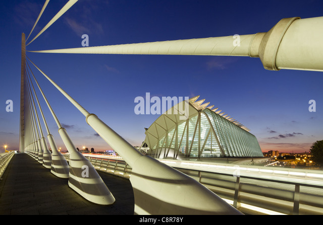 Puente de l Assut, bridge, City of sciences, Calatrava, Valencia, Spain - Stock Image