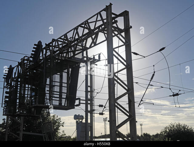 Overhead lines, electric train line,WCML,England,UK - Stock Image