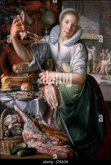 A Kitchenmaid, by Joachim Anthonisz Wtewael - Stock Image