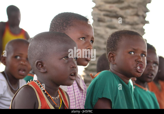 School children at a school in the El Molo village in Loiyangalani. Credit: David Mbiyu/Alamy Live News - Stock Image