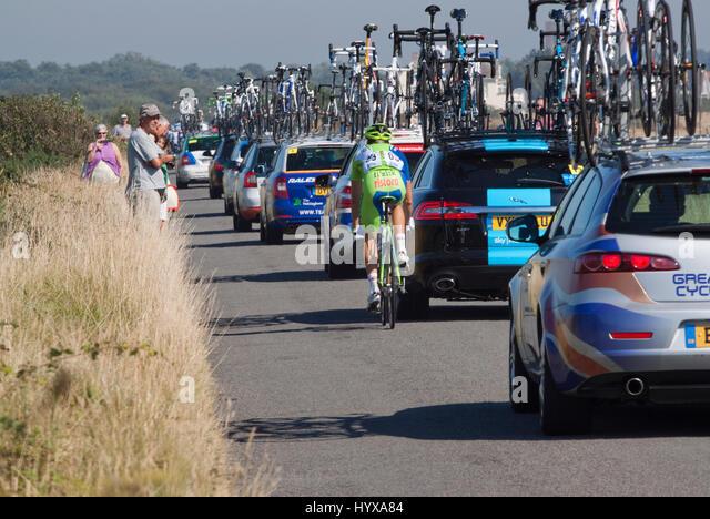 Fabio Sabatini making his way through the convoy of the 2012 Tour of Britain - Stock Image