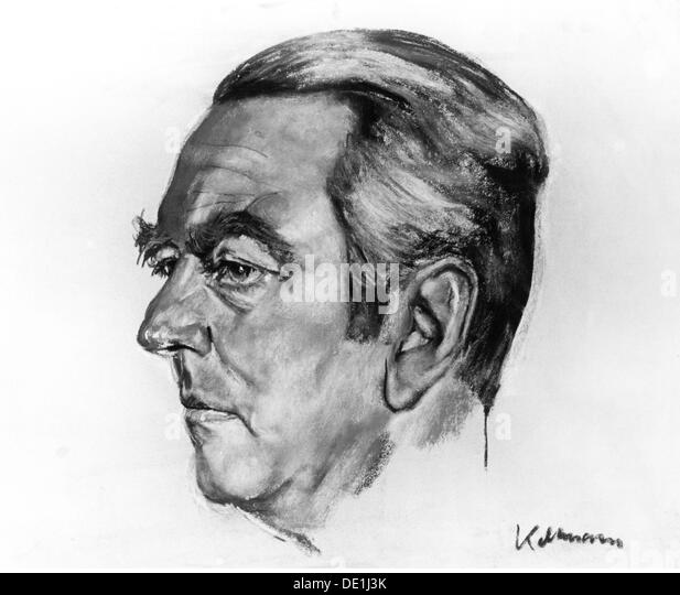 Beitz Berthold 26.3.1913 - 30.7.2013 German industrialist portrait pastel drawing by Hans Juergen Kallmann (1908 - Stock Image