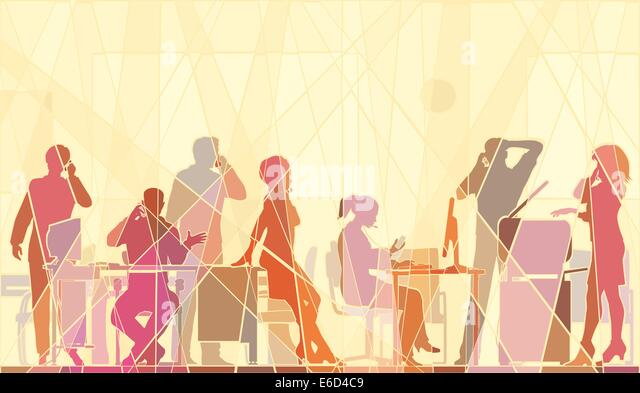 Editable vector colorful mosaic illustration of business people in an office all talking on cellphones - Stock-Bilder