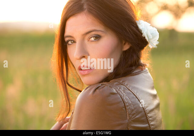 Woman with long brunette hair - Stock-Bilder