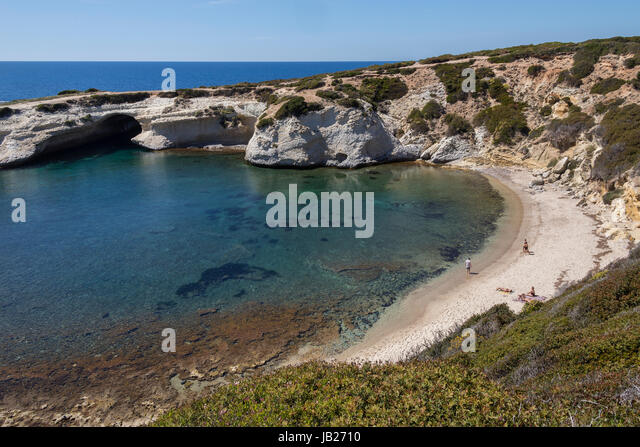 S'Archittu is a small coastal town near Oristano on the west coast of Sardinia, Italy. The town takes its name - Stock Image