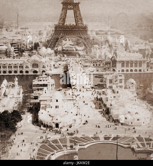 Exposition the Champs de Mars from Trocadero Tower, Paris, France in 1900 - Stock Image