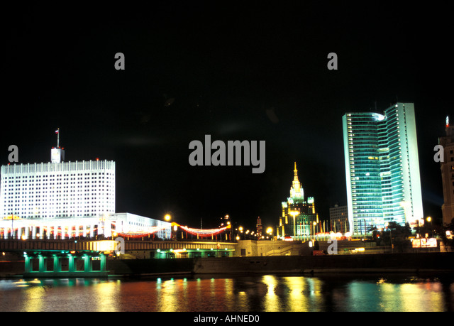 Moscow Russia Skyline at Night from Moscow River - Stock Image