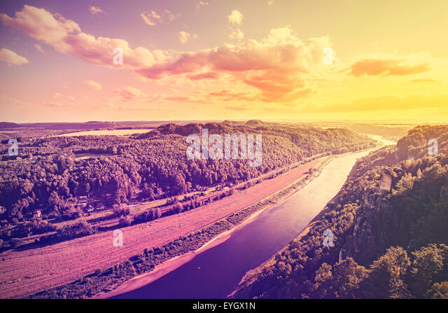 Vintage toned photo of Elbe river at sunset, Germany. - Stock-Bilder