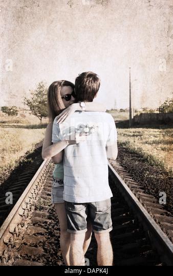 artwork in retro style, couple - Stock-Bilder