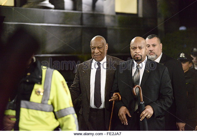 Norristown, United States. February 3rd, 2016. USA, Norristown: Entertainer Bill Cosby is escorted towards his car - Stock Image