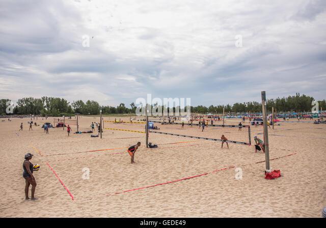 Toronto woodbine beach volleyball player - Stock Image