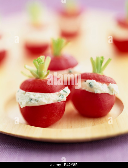 Radishes stuffed with fromage frais - Stock-Bilder