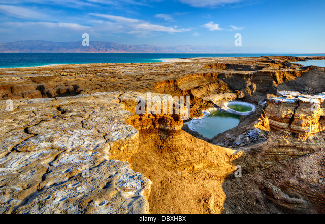Sinkholes near the Dead Sea in Ein Gedi, Israel. - Stock Image