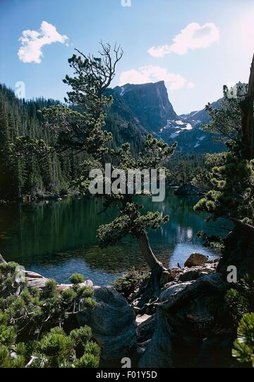 Mountain lake, Rocky Mountain National Park, Colorado, United States of America. - Stock Image
