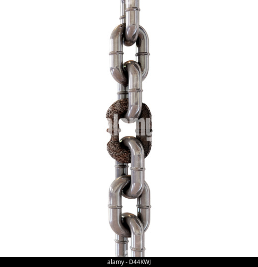 A hanging chain with a very weak, corroded link - Stock Image