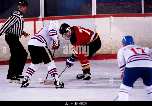 Ice Hockey face off - Stock Image