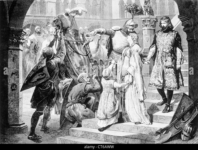 Illustration of a Knight bidding lady farewell - Stock Image