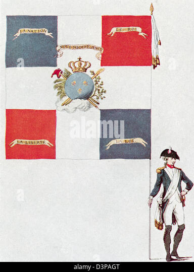 Battalion flag of the Parisien National Guard, Battalion Des Jacobins de Saint-Honoré. - Stock Image