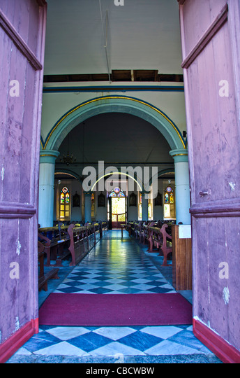 Dominica Bethesda Methodist Church of Roseau interior, a capital city landmark - Stock Image