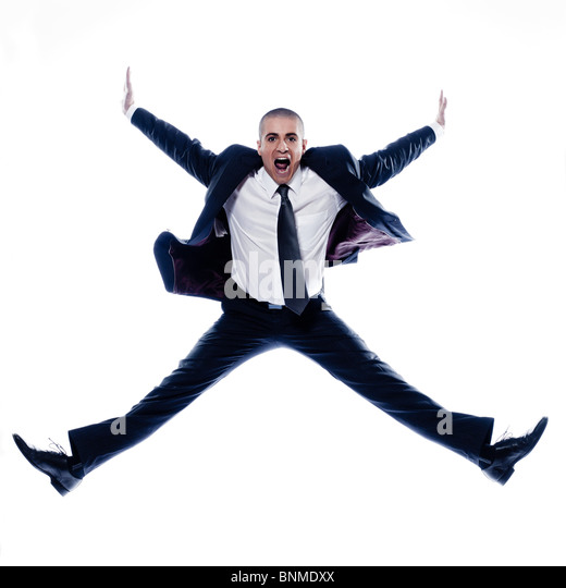 caucasian man businessman jump screaming angry  isolated studio on white background - Stock Image