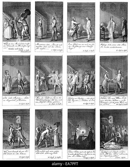 illustrations from Kabale und Liebe, Love and Intrigue, 1786 by Johann Christoph Friedrich von Schiller, Historische - Stock Image