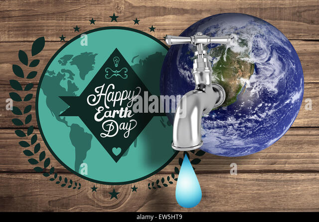 Composite image of earth with faucet - Stock Image