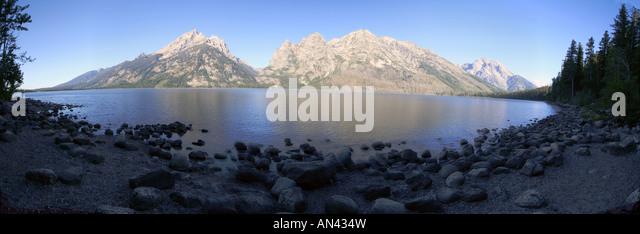 Looking across Jenny Lake from the Jenny Lake Overlook towards the Grand Teton Mountains, Grand Teton National Park, - Stock Image