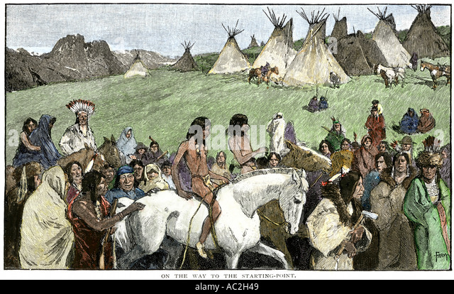 Native American boys nearing the start point for a horse race northern Rocky Mountains - Stock Image