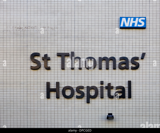 London, UK - 11h January 2013: A closeup to a sign for the St Thomas Hospital in London - Stock Image