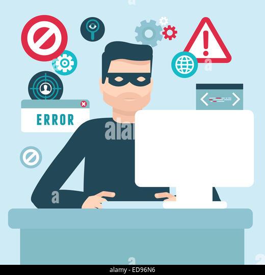 Hacker illustration in flat style - password and data thief - Stock-Bilder