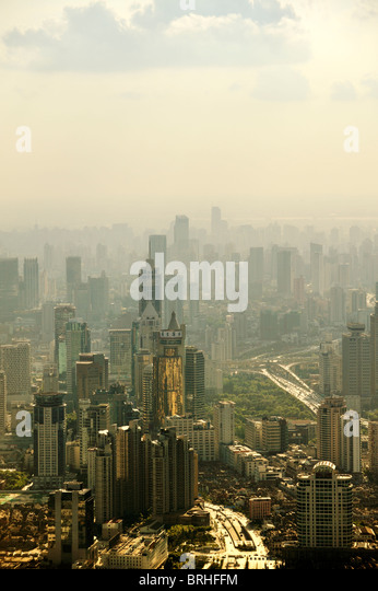 S.W. over central Shanghai, China, from Park Hyatt Hotel in Shanghai World Financial Center tower, Pudong. October - Stock Image