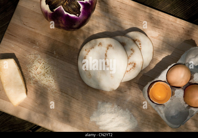 Eggs, cheese and slices of eggplant - Stock Image
