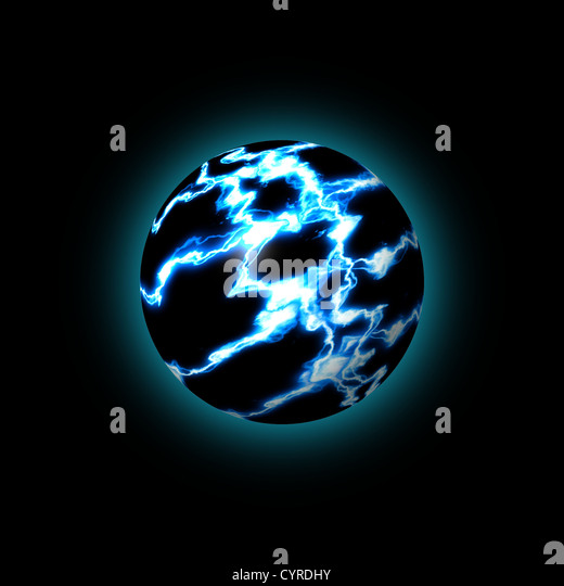 blue lightning globe showing an abstract world - Stock Image