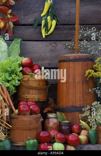 Harvested produce, antique churn and kitchen containers by old barn wall at an outdoor display of community farmer's - Stock Image