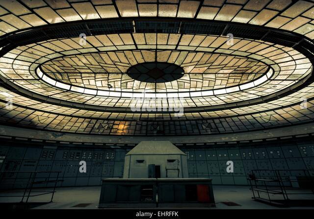 Illuminated control room - Stock Image